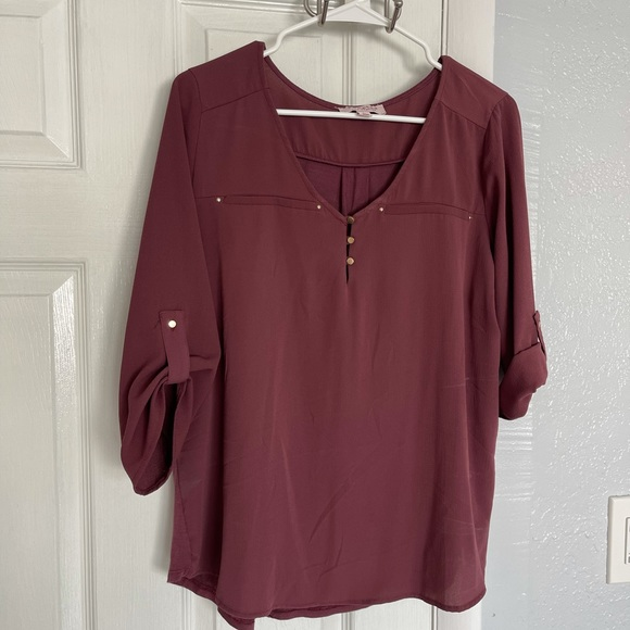 """Tempted Long sleeve blouse - Size """"L"""" in burgundy"""